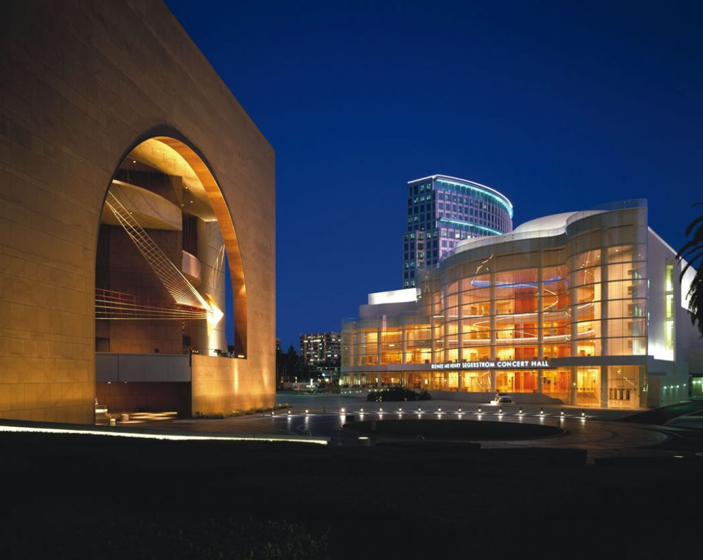 The Segerstrom Center for the Arts campus features the Arts Plaza and the Renée and Henry Segerstrom Concert Hall (right). RMA Photography Inc.