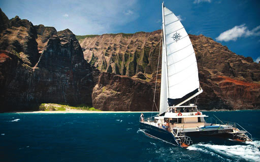 Capt. Andy's luxury catamaran sails the Napali Coast.