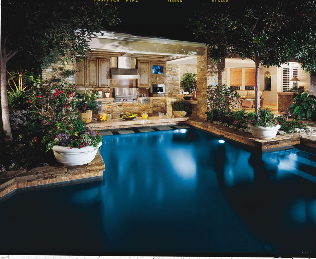 Accent coastal living and dining with a swim-up bar.