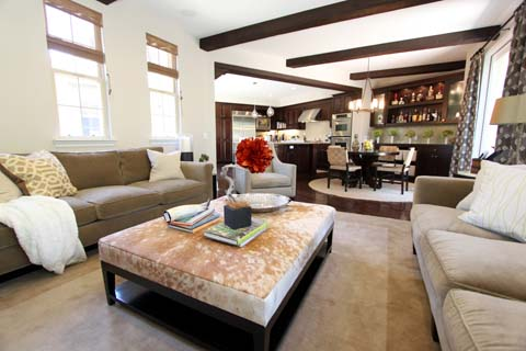 A leather ottoman featured in a home designed by Nathan Fischer