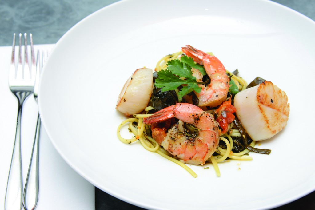 2- linguine with seaweed,  scallop, shrimp, roasted tomato ,Special for MP and NPB