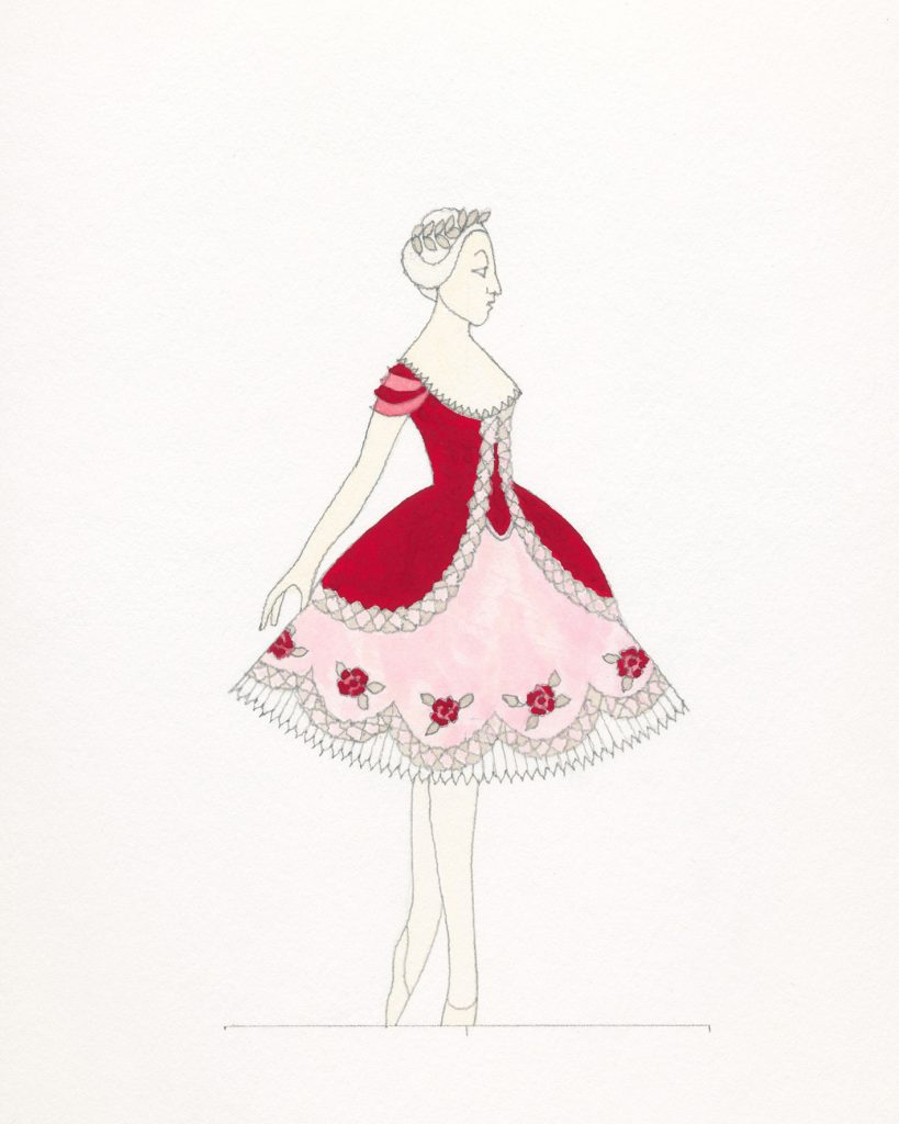 ABT Sleeping Beauty Princess Aurora costume sketch for the rose adagio by Richard Hudson