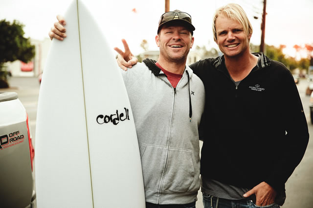 Cordell Miller (right), of Cordell Surfboards